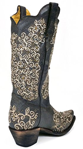 Corral R1408 Gray Floral Embroidered Boots with Studs and Stones BvX1pH