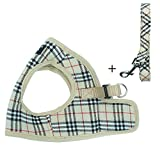 PUPTECK Soft Mesh Dog Harness with Leash Basic Plaid Padded Vest for Puppy