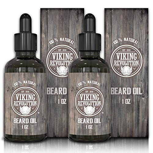 Viking Revolution Beard Oil Conditioner - All Natural Unscented Organic Argan & Jojoba Oils - Softens, Smooths & Strengthens Beard Growth - Grooming Beard and Mustache Maintenance Treatment, 2 Pack