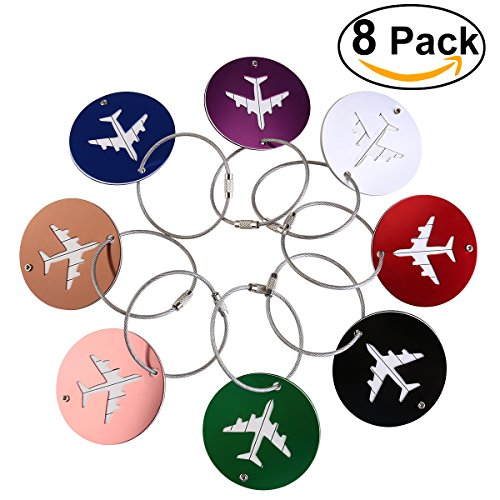 NUOLUX Aluminum Air Plane Pattern Luggage Tag Baggage Handbag ID Tag Name Card Holder with Key Ring 8pcs (Luggage Tag Pattern)