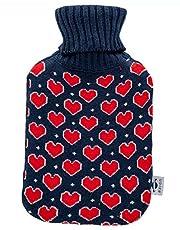 axion - varmvattenflaska med överdrag - i blå stickning, med hjärtan på framsidan