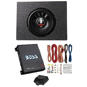 "Boss Audio 12"" 1600W 4-Ohm Subwoofer + Shallow Enclosure + Amplifier & Wire Kit"