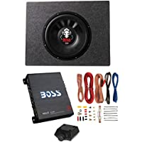 Boss Audio 12 1600W 4 Ohm Subwoofer + Shallow Enclosure + Amplifier & Wire Kit