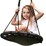 Sorbus Spinner Swing – Kids Indoor/Outdoor Round Mat Swing – Great for Tree, Swing Set, Backyard, Playground, Playroom – Accessories Included (24'' Mat Seat)