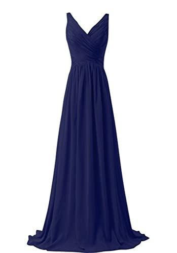 CaliaDress Women V Neck Long Bridesmaid Dress Prom Evening Gowns C015LF