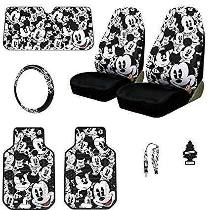 Yupbizauto 7 Pieces Disney Mickey Mouse Car Truck Seat Covers Floor Mats Steering Wheel Cover Lanyard