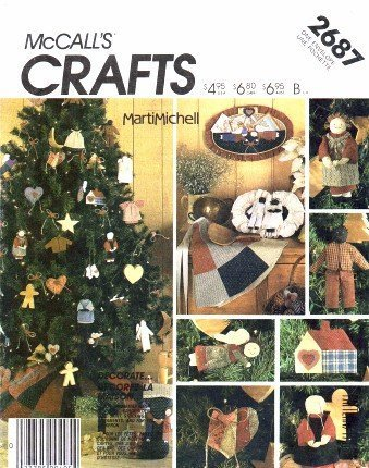 McCall's 2687 Crafts Sewing Pattern Folk Christmas Stocking Ornaments Apron Tree Skirt