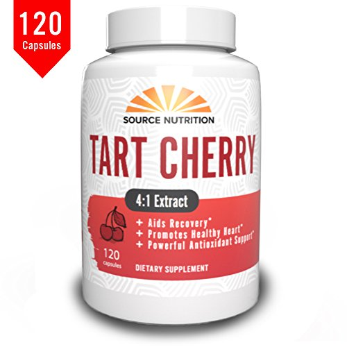 Tart Cherry Supplement by Source Nutrition | 4 Month Supply of 100% Natural Tart Cherry Capsules - 1000mg Per Serving. 120 Count.