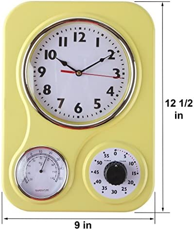 Lily's Home Retro Kitchen Wall Clock, with a Thermometer and 60-Minute Timer, Ideal for Any Kitchen, Yellow (9.5 in x 13.3 in) 51ui5BrPbPL
