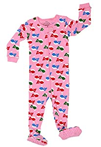 "Elowel Baby Girls footed ""Whale"" pajama sleeper 100% cotton (size 6M-5Years)"