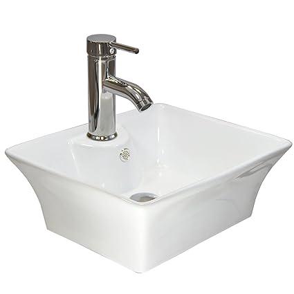 Bathroom Wash Basin White Ceramic Bowl Modern Rectangle Countertop