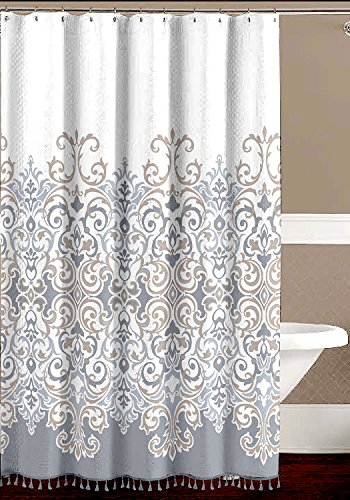 Decorative Floral Fabric Shower Curtain: Elegant Style Grey, Bronze, White with Fringe (Neutral Curtains Color Shower)