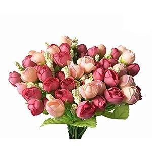 CATTREE Artificial Rose Flowers, Plastic Silk Finger Rose Fake Plants Wedding Bridal Bouquet Party Indoor Outdoor DIY Home Garden Verandah Office Table Centerpieces Arrangements Decoration 4pcs 4