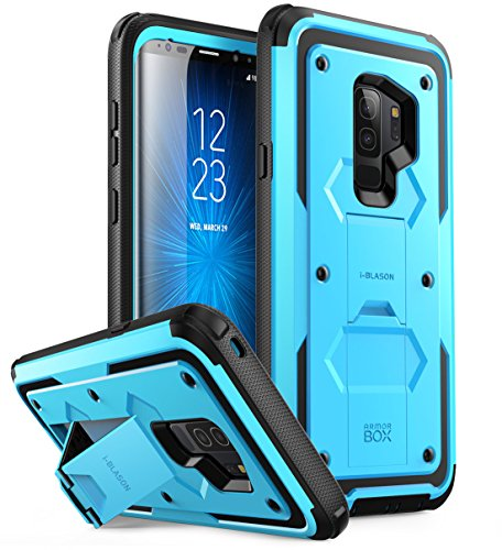i-Blason Galaxy S9+ Plus Case, [ArmorBox] [Full Body] [Heavy Duty Protection ] [Kickstand] Shock Reduction/Bumper Case Without Screen Protector for Samsung Galaxy S9+ Plus (2018) (Blue)