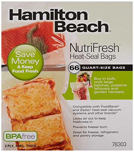 Hamilton Beach Vacuum Sealer, (66-Pack) Quart-Size Bags for NutriFresh, FoodSaver & Other Heat-Seal Systems (78303) ()