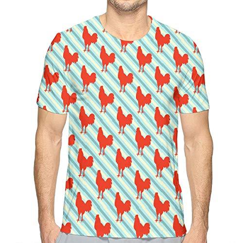 TAOHJS106 Red Rooster Pattern Men Crewneck Short Sleeve T-Shirt Best for  Ski 45efe258e4d9