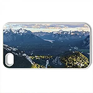 town in a marvelous valley - Case Cover for iPhone 4 and 4s (Mountains Series, Watercolor style, White)