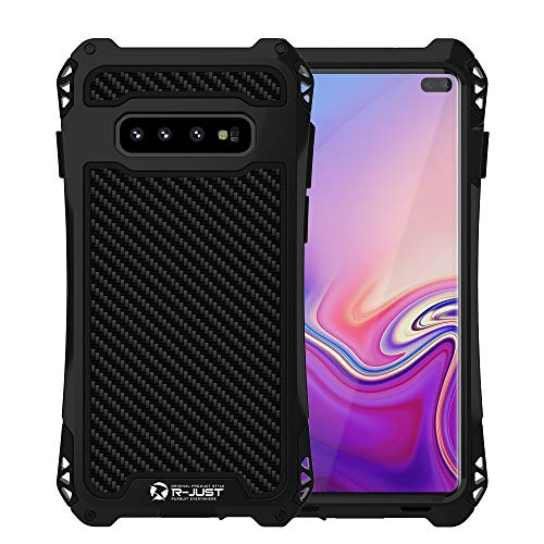 Feitenn Compatible with Galaxy S10 Plus Case, S10 Plus Case Heavy Duty, Armor Military Bumper Aluminum Alloy Metal Cover Shockproof Outdoor Hard Defender for Samsung Galaxy S10 Plus 6.4''- Black/Black