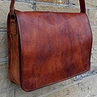 "SALE! Shakun Handmade Flap messenger 15"" Leather Unisex 100% Genuine Real Leather Messenger Bag for Laptop Briefcase Satchel Vintage Crossbody Laptop Bag FREE Shipping"