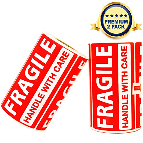Fragile Stickers Handle with Care - 2 Rolls 500 Labels in Total - 3.5 x 2 inches - Warning Sticker Tags for Shipping, Moving Boxes, Luggage, Glass, Suitcases - Tag Label (Fragile 2 Pack) ()
