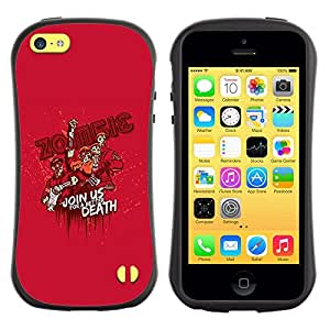 LASTONE PHONE CASE / Suave Silicona Caso Carcasa de Caucho Funda para Apple Iphone 5C / Zombie Quote Cartoon Monster Pink Attack Movie