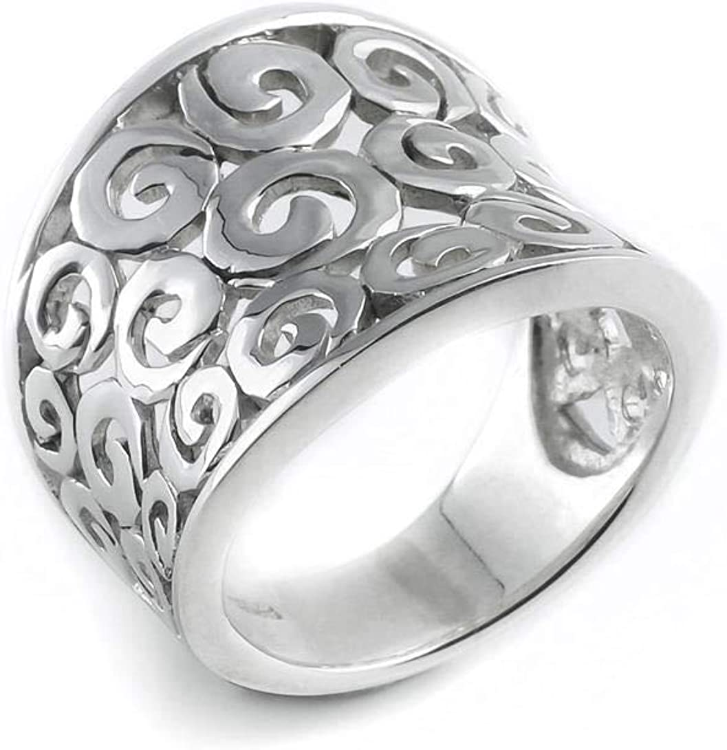 Silverly Women's .925 Sterling Max 62% OFF Silver Concav Swirls Open Free Shipping Cheap Bargain Gift Spirals