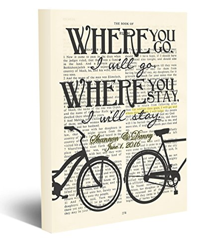 Custom Vintage Bible page PERSONALIZED verse scripture Where you go I will Go - Ruth 1:16 Christian wrapped CANVAS, Bicycle dictionary wall & home decor, wedding couples gift