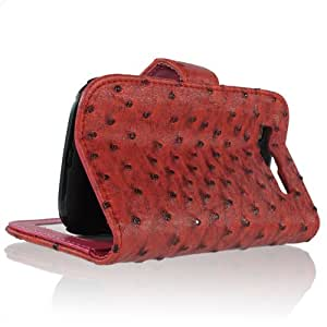 Red/ Galaxy S3 SIII I9300 Ostrich Pattern PU Leather Flip Folio Protective Skin Stand Case Cover Wallet with Card Slot (4172-4)