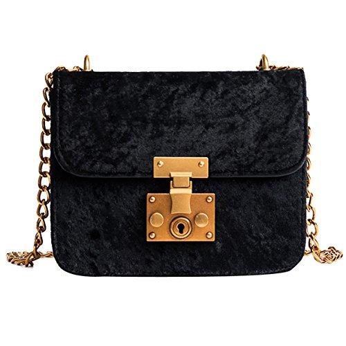 Yuan Shoulder Bag Retro Gold Velvet Messenger Bags Tote Handbag Black