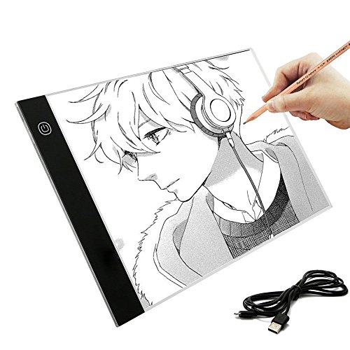 A4 Ultra-Thin Portable LED Light Box Tracer USB Power Cable Dimmable Brightness LED Artcraft Tracing Light Pad Light Box for Artists Drawing Sketching Designing Stencilling Animation by Sandistore