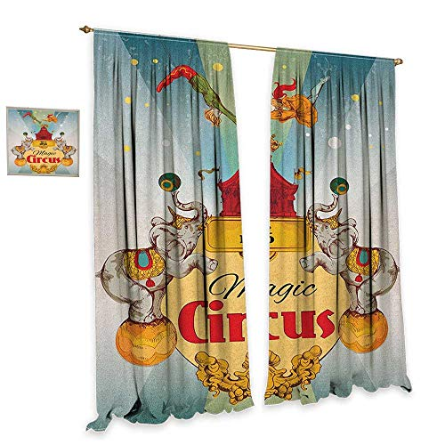Price comparison product image homefeel Circus Thermal Insulating Blackout Curtain Magic Circus Tent Show Announcement Vintage Style Aerialist Acrobat Performance Customized Curtains W84 x L108 Multicolor