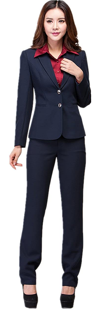 XinAndy Women's Suit Navy Blue 2 Button Jacket & Pant Set Long Sleeve