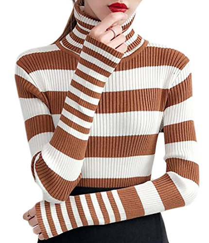 Pivaconis Womens Turtleneck Long Sleeve Slim Stripe Pullover Sweater 1 Onesize