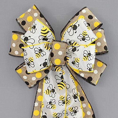 - Bumble Bees Natural Polka Dot Wreath Bow - 10