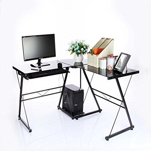 VECELO L-Shape Corner Computer Desk in Black (Black Desk L Shape)