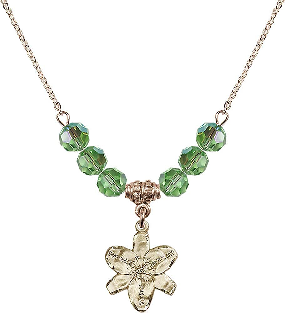 18-Inch Hamilton Gold Plated Necklace with 6mm Peridot Birthstone Beads and Chastity Charm Green Peridot August Birthstone