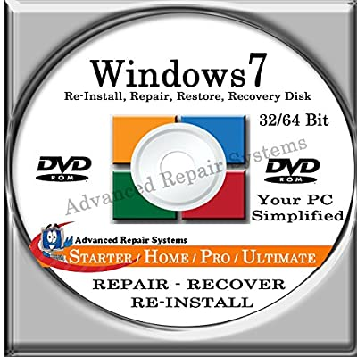 WINDOWS 7 SYSTEM REPAIR & RE-INSTALL 32 Bit & 64 Bit BOOT DISK: Repair & Re-install any version of Windows 7 Basic, Home, Premium and Ultimate (Repair-Restore-Reinstall)