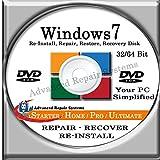Software : WINDOWS 7 SYSTEM REPAIR & RE-INSTALL 32 Bit & 64 Bit BOOT DISK: Repair & Re-install any version of Windows 7 Basic, Home, Premium and Ultimate (Repair-Restore-Reinstall)
