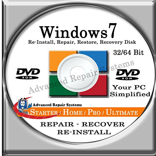 Windows 7 Starter 32-Bit Install Repair Disc Reinstall Recovery Restore