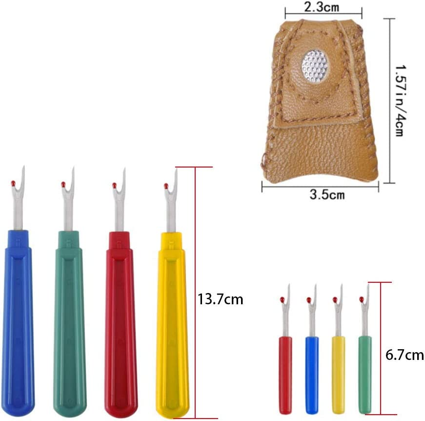 8Pcs Seam Rippers Set with Thimble 2 Sizes Plastic Stitch Remover Tool for Cross Stitch Embroidery and Sewing