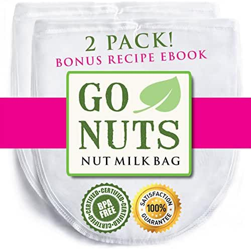 2-PACK Best Nut Milk Bag - Premium Quality by GoNuts - BPA-Free Nylon - Durable - Fine 100-Micron Mesh - 12