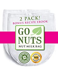 """2-PACK Best Nut Milk Bag - Premium Quality by GoNuts - BPA-Free Nylon - Durable - Fine 100-Micron Mesh - 12"""" x 10"""" - Create the Best Almond Milk, Cold Brew Coffee - Use as Strainer and Filter - Washable - Reusable - Plus Bonus Recipe E-book"""