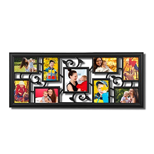 """Adeco 9-Opening 4x6"""" 5x5"""" Black Plastic Wall Collage Photo P"""