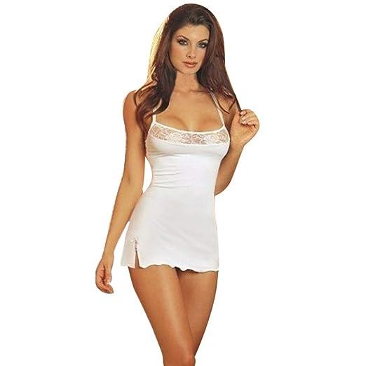 3f1ed8c726f Amazon.com  Women Lace Lingerie Sleepwear Chemises V-Neck Full Slip Babydoll  Nightgown Dress Fantastic Satin Chemise Slips Lingerie  Clothing