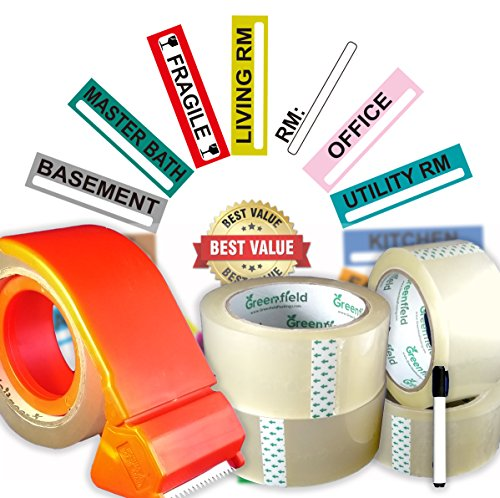 Box Packing Tape (Moving Supplies Set | 200 Color Coded Moving Labels For Moving Boxes | 4 Heavy Duty Packing Tape Rolls | Tape Dispenser | Permanent Marker | Packing Storage Stickers)