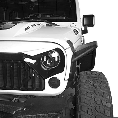 - Hooke Road Jeep Wrangler Tubular Front & Rear Fender Flares Kit, Textured Black Solid Wheel Fenders, 2007-2018 Wrangler JK