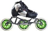 Luigino Kids Adjustable Black Boot Size J13-2, Luigino Striker 4x90/3x110 Frame, Atom Matrix Green 100mm Wheels, Bionic Abec 7 Bearings, Inline Speed Skates