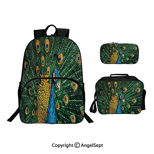 School Backpack With Lunch Bag Pencil Bag One Set,Portrait Of The Peacock During Courtship Display Eye Spotted Tail Tropics Natural,Lightweight Laptop Bag For Teen Boys And ()