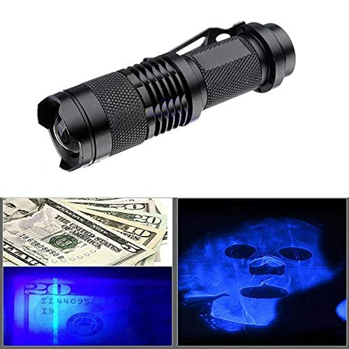Uv Light Checker with New Design 2019, Xpe Q5 395 Uv Purple Light Flashlight Telescoping Zoom Money Checker Torch - Zoom Flashlight Mini, Lm Flashlight, Hx .com, Banknote in Sporting Goods