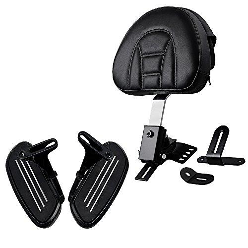 Detachable Black PU Leather Rider Driver Back Rest Pocket + Black Rear Floorboards Mounting Bracket For 97-17 Harley Road King Street Tri Electra Glide - Leather Set Footboard